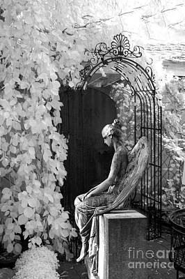 Gothic Surreal Black And White Infrared Angel Statue Sitting In Mourning Sadness Outside Mausoleum  Print by Kathy Fornal