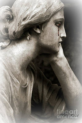 Gothic Surreal Cemetery Mourner Female Face - Mourning Female Statue Crying Tears - Sad Angel Art Art Print by Kathy Fornal