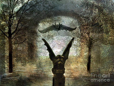 Surreal Digital Art Photograph - Gothic Surreal Fantasy Spooky Gargoyles  by Kathy Fornal