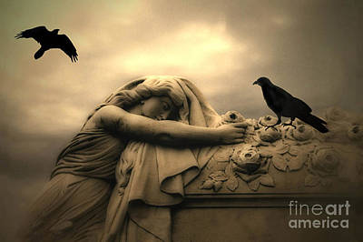 Gothic Art Photograph - Gothic Surreal Haunting Female Cemetery Draped Over Coffin With Black Ravens by Kathy Fornal