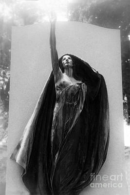 Photograph - Gothic Surreal Haunting Female Cemetery Mourner Figure Black Caped Woman In Front Of Gravestone by Kathy Fornal