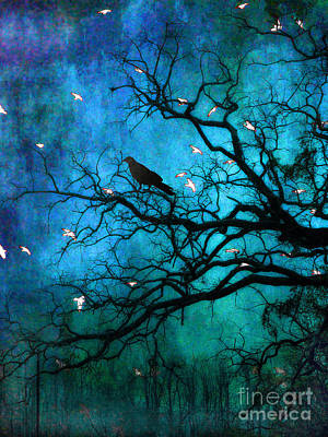 Gothic Surreal Nature Ravens Crow And Birds Art Print by Kathy Fornal