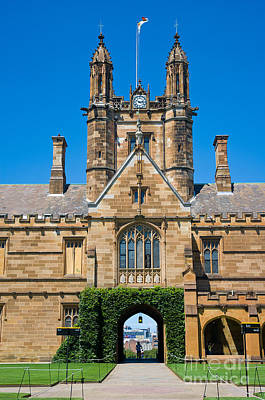 Gothic Tower And Entrance Of Sydney University Art Print by David Hill