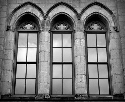 Photograph - Gothic Windows - Black And White by Joseph Skompski
