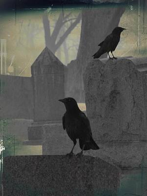 Gothic Winter Blackbirds Art Print by Gothicrow Images