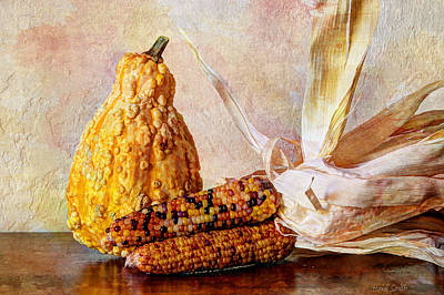 Photograph - Gourd And Indian Corn by Heidi Smith