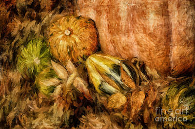 Digital Art - Gourds And Leaves Of Autumn by Lois Bryan