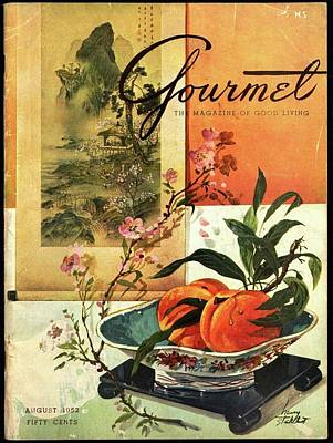 Gourmet Cover Featuring A Bowl Of Peaches Art Print by Henry Stahlhut