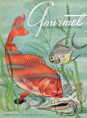 Gourmet Cover Featuring A Snapper And Pompano Art Print by Henry Stahlhut