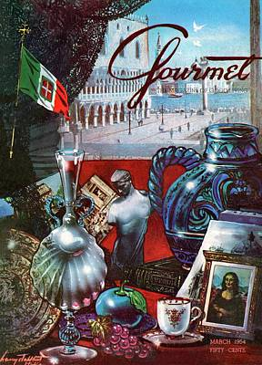 Antique Photograph - Gourmet Cover Featuring A Variety Of Italian by Henry Stahlhut