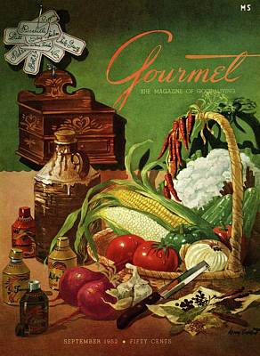 Gourmet Cover Featuring A Variety Of Vegetables Art Print by Henry Stahlhut