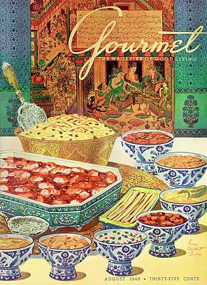 Gourmet Cover Featuring Various Indian Dishes Art Print by Henry Stahlhut