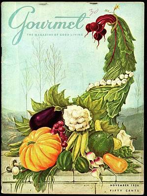 Cornucopia Photograph - Gourmet Cover Illustration Of A Cornucopia by Hilary Knight
