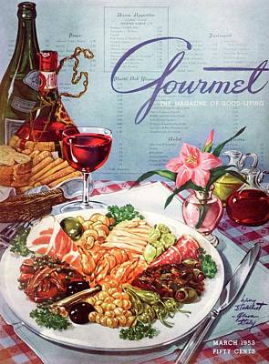 Baskets Photograph - Gourmet Cover Illustration Of A Plate Of Antipasto by Henry Stahlhut