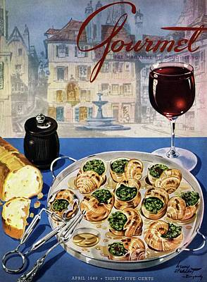 Alcohol Photograph - Gourmet Cover Illustration Of A Platter by Henry Stahlhut