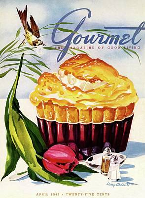 Gourmet Cover Illustration Of A Souffle And Tulip Art Print by Henry Stahlhut