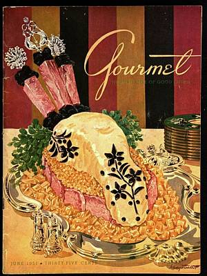 Watercress Photograph - Gourmet Cover Illustration Of Langue De Boeuf by Henry Stahlhut