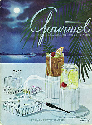 Gourmet Cover Of Cocktails Art Print by Henry Stahlhut
