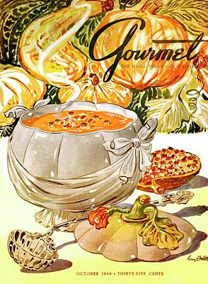 Healthy Food Photograph - Gourmet Cover Of Pumpkin Soup by Henry Stahlhut