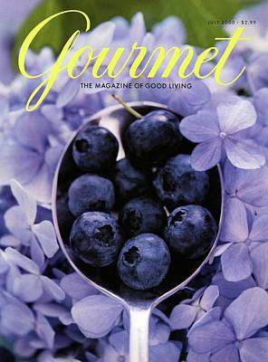 Lavender Flowers Photograph - Gourmet Magazine Cover Blueberries On Silver Spoon by Jim Franco