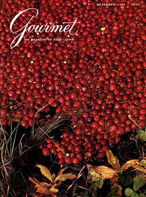 Gourmet Magazine Cover Featuring Cranberries Art Print by Lans Christensen