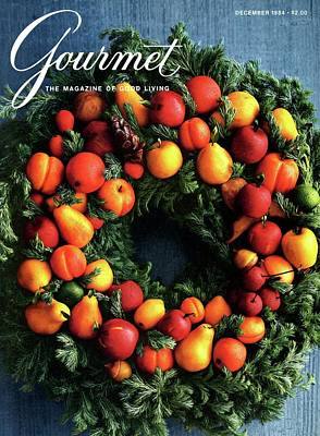 1984 Photograph - Gourmet Magazine Cover Featuring Marzipan Wreath by Romulo Yanes