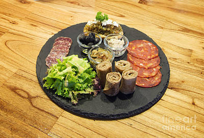 Wooden Platter Photograph - Gourmet Snack Foods Platter On Wooden Table by Jacek Malipan