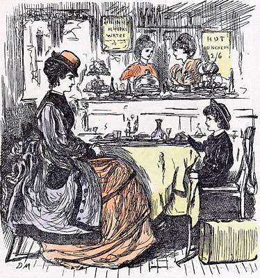 Governess And Boy At The Restaurant 1873 Suitcase Table Art Print by English School
