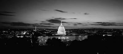 Capitol Building Photograph - Government Building Lit Up At Night, Us by Panoramic Images