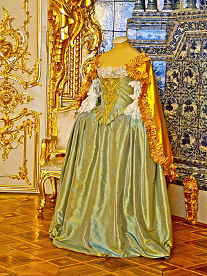 Catherine Palace In Russia Photograph - Gown Likely Worn Once By Empress Catherine In Catherine's Palace In Pushkin-russia by Ruth Hager
