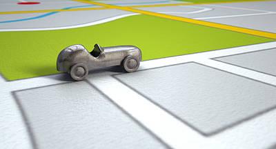 Transportation Digital Art - GPS Map With Metal Toy Car by Allan Swart