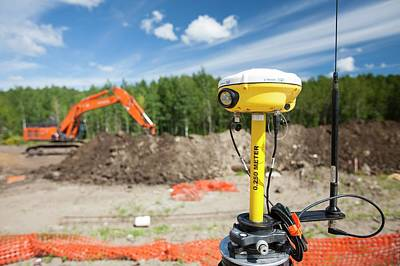 Gps Theodolite New House Building Art Print by Ashley Cooper