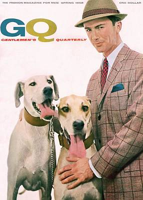 Gq Cover Featuring A Male Model With Dogs Art Print