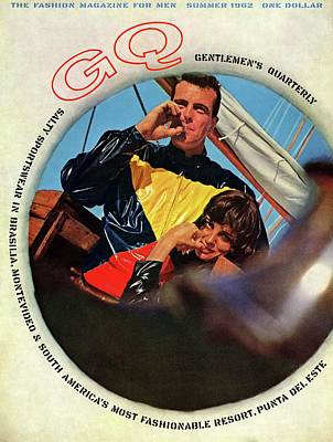 Color Block Photograph - Gq Cover Featuring A Model Wearing A Plastic by Chadwick Hall