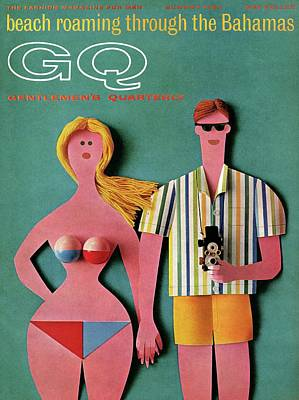Fashion Illustration Wall Art - Photograph - Gq Cover Featuring A Paper Cut Out Couple by Robert Jackson