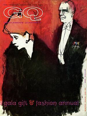 Gq Cover Featuring An Illustration Of A Couple Art Print