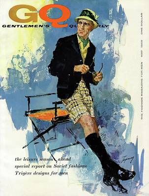 Fashion Photograph - Gq Cover Featuring An Illustration Of A Man by Howard Terpning
