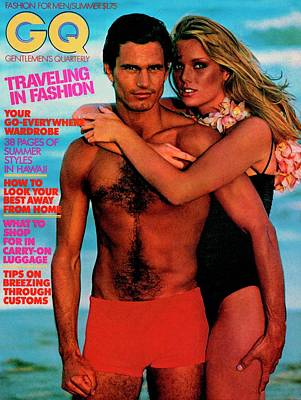1977 Photograph - Gq Cover Featuring Patti Hansen And A Male Model by Barry McKinley