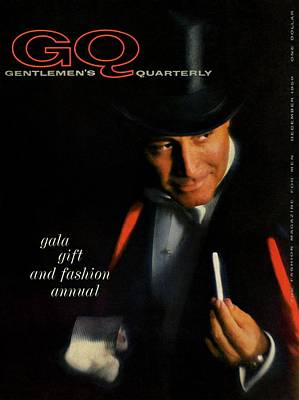Mans Hat Photograph - Gq Cover Of A Model Wearing Top Hat And Tailcoat by Casele-Chadwick