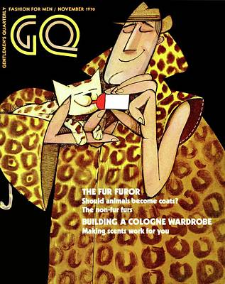 Gq Cover Of An Illustration Of A Man In Fur Coat Art Print by Ziraldo Alves Pinto