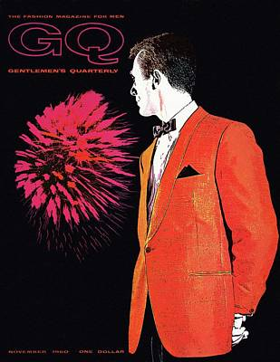 1960 Photograph - Gq Cover Of An Illustration Of A Man Wearing An by Leon Kuzmanoff