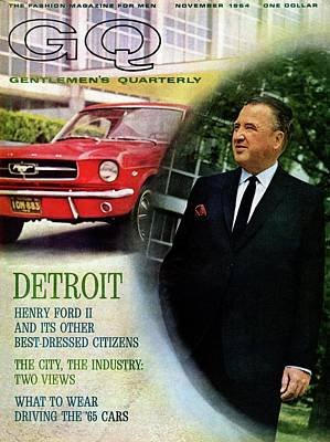 Gq Cover Of Henry Ford II And 1965 Ford Mustang Art Print
