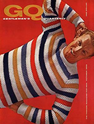Gq Cover Of Man Wearing Striped Sweater Art Print