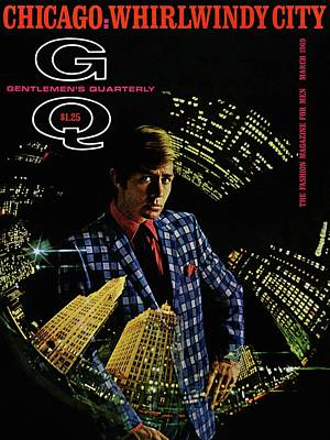 Gq Cover Of Model Wearing A Louis Roth Jacket Art Print by Leonard Nones