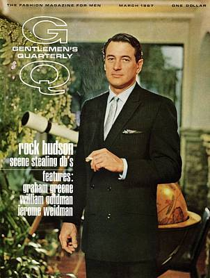 Men's Fashion Photograph - Gq Cover Of Rock Hudson Wearing A Suit by John Bryson