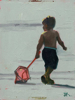 Painting - Grabin At The Beach by John Reynolds