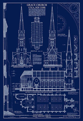 Historic Buildings Drawings Digital Art - Grace Church Blueprint by Daniel Hagerman