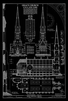 Historic Buildings Drawings Digital Art - Grace Church - Utica New York by Daniel Hagerman