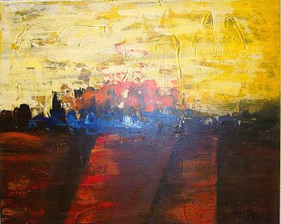 Abstrac Painting - Grace Fire Over The City by Lalo Gutierrez