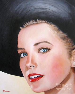 Grace Kelly Mixed Media - Grace Kelly In A Black Hat by Venus